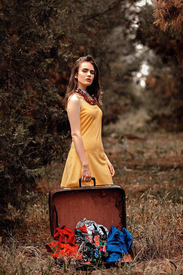 Леди, Красота, Мода, Оранжевый, Дерево, Платье, Модель, Сидит
