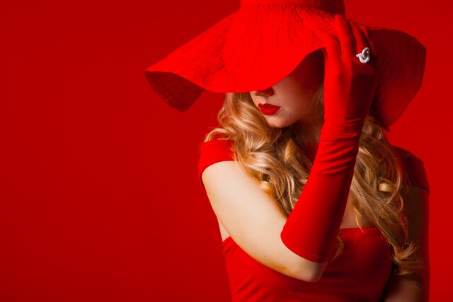 Lady, In, Red, шляпа