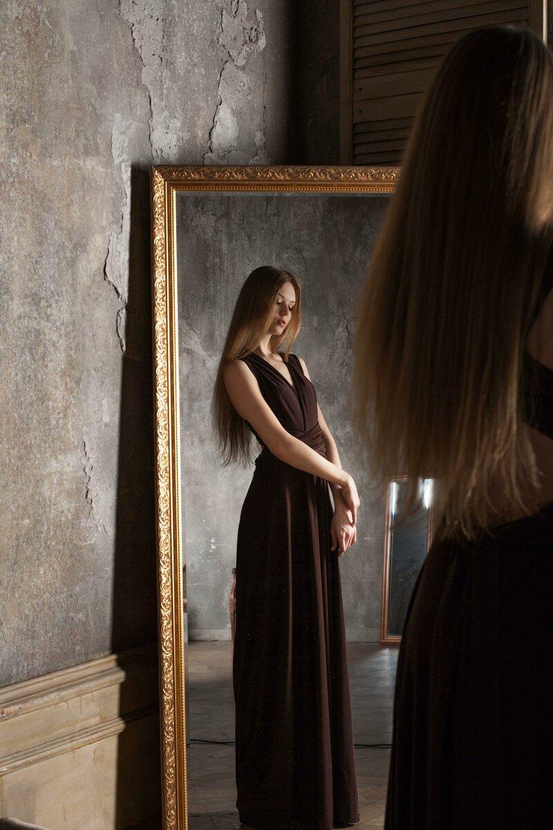 Леди, Красота, Платье, Мода, Длинные волосы, Отражение