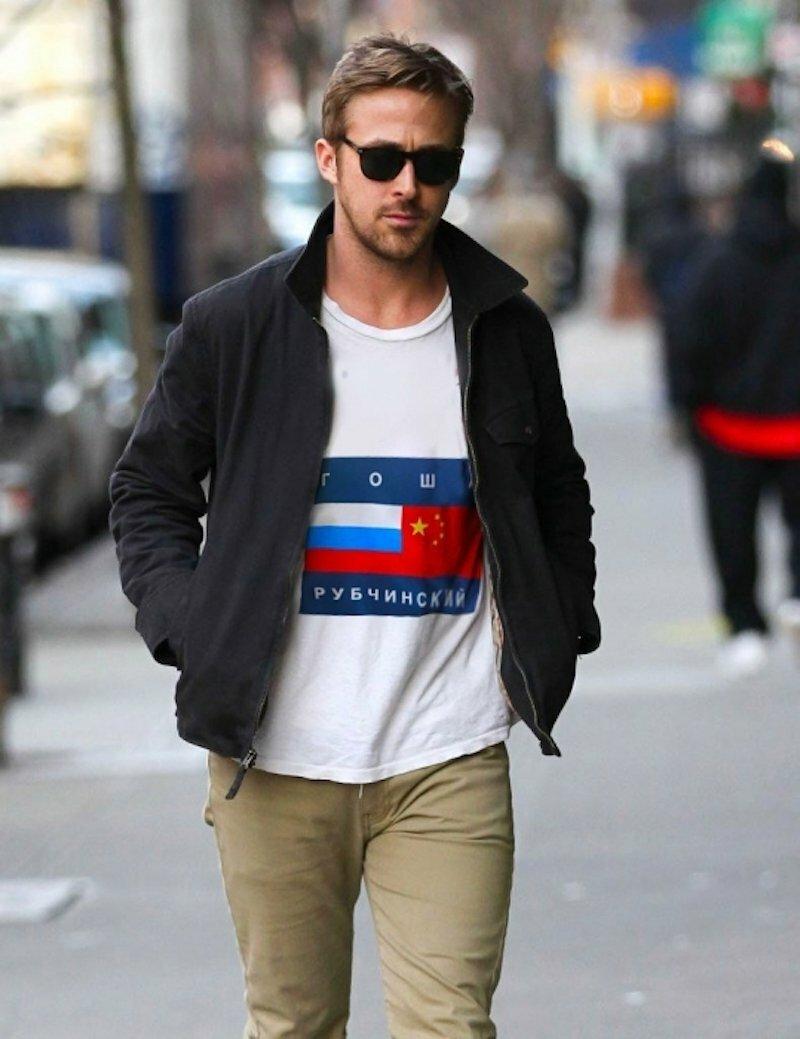 Райан Гослинг в футболке от Гоши Рубчинского